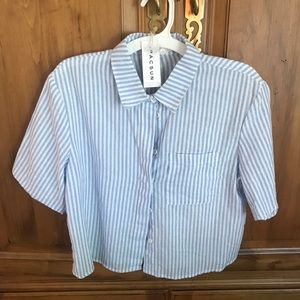 Pacsun Blue Striped Button Down Short Sleeve Shirt